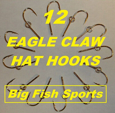 (12 EAGLE CLAW HAT HOOKS Hat Pin/Tie Clasp GOLD PLATED FISH HOOK HAT PINS #155 10)