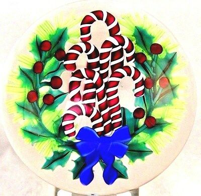 Lg SPECTACULAR Ken ROSENFELD Ribbon & CANDY Canes CHRISTMAS BOUQUET Paperweight