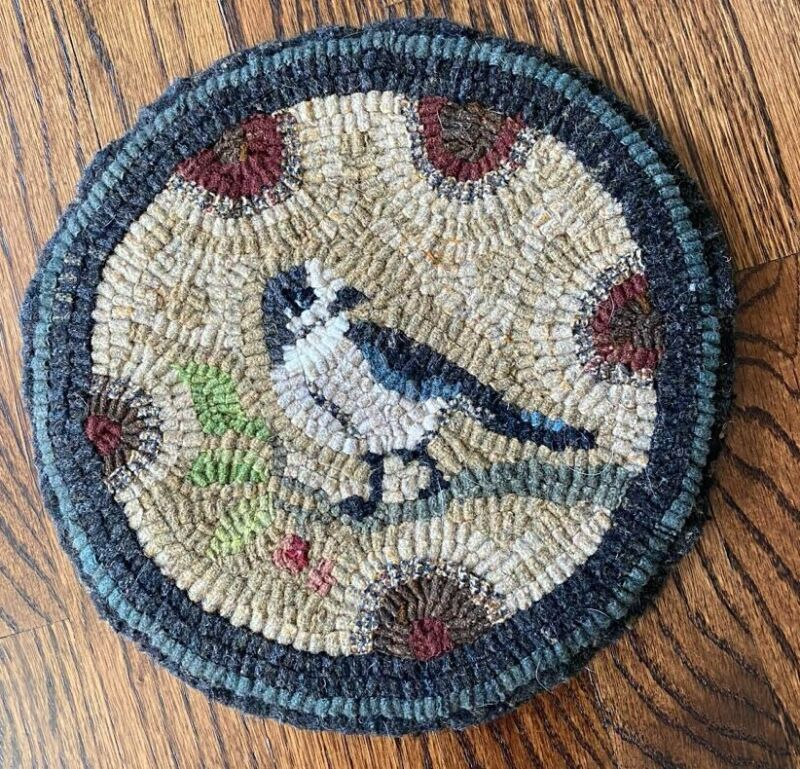 Hand Hooked Wool Rug, Bird by Kimberly Edgerly