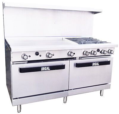 New. Commercial 60 Range With 4 Burners 36 Griddle. Made In Usa By Ideal