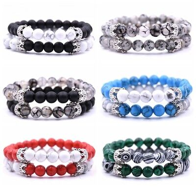 2Pcs Set Couples Bracelet Men Women Double Crown Natural Gemstone Bead Bracelets