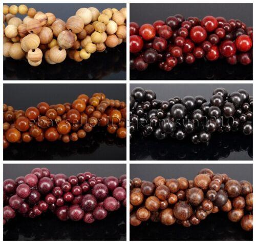 Natural Wood Sandalwood Rosewood Round Spacer Loose Beads 15.5