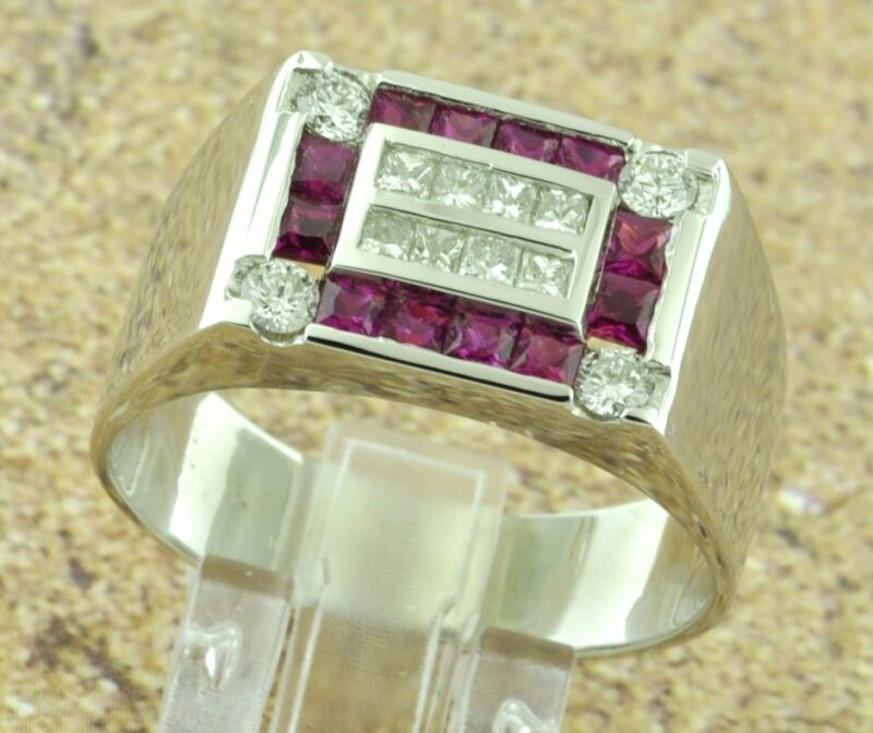 2.70 Ct 14k Solid White Gold Mens Natural Ruby Diamond Ring Princess Cut Size 13