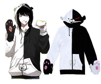 Danganronpa Monobear Cos Monokuma Black&White Bear Cosplay Hoodie Coat Unisex  (Bear Costum)