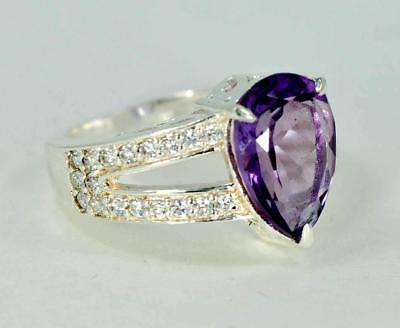 NATURAL AMETHYST FEBRUARY BIRTHSTONE 925 STERLING SILVER LADIES RING #BB7