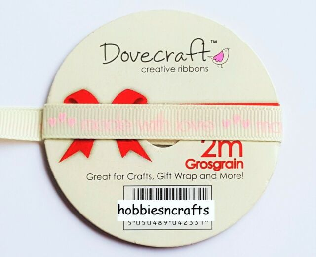 1CM DOVECRAFT CREATIVE RIBBON REEL - GROSGRAIN - MADE WITH LOVE  - 2 METRES