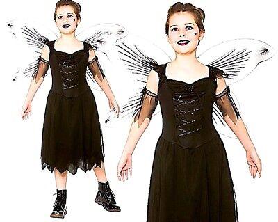 Fallen Angel Halloween Costume Kids (Child Fallen DARK FAIRY + Wings Halloween Bad Girls Fancy Dress Costume Age)