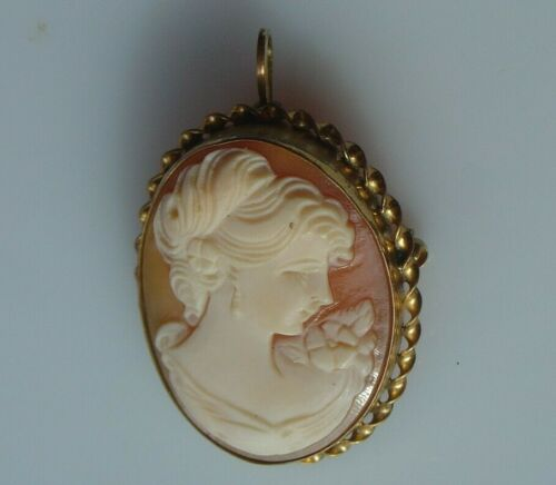 Vintage Carved Shell Cameo Pin Pendant Right Facing Woman in Gold Filled Frame