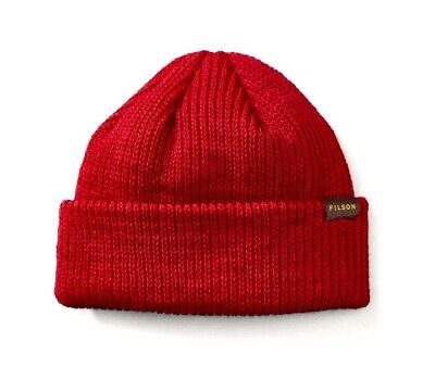 Red Watch Knit Beanie (FILSON 11030235 Virgin Wool Knit Red Cuff Watch Cap)