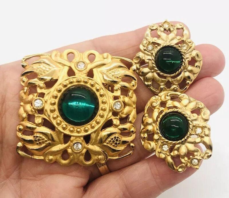 Beautiful Jeweled Brooch & Earrings Demi Matte Gold Plated Vintage Jewelry