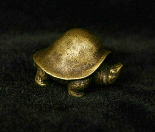 Chinese Folk Fengshui Brass Copper Lucky Animal tortoise Turtle Statue Sculpture