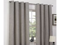 Basketweave Eyelet Lined Curtains