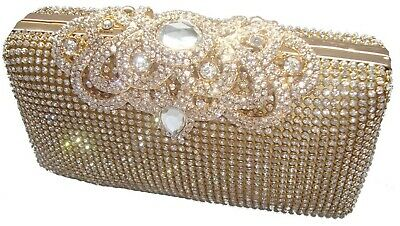 Gold Evening Clutch (Gold Ornate Clasp Diamante Crystal Evening bag Clutch Purse Party Prom Wedding )