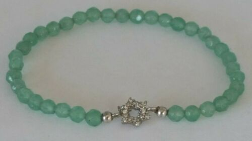 Sterling Silver Cubic Zirconia Star Faceted Green Quartz Stretch Bracelet