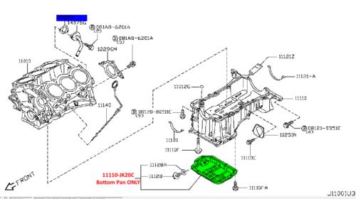 NISSAN OEM-Engine Oil Pan 11110JK20C Lower Pan Only