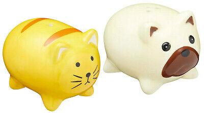 Kitchen Craft Ceramic Cat & Dog Shape Salt & Pepper Pot Set Cruites Sets