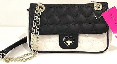 Betsey Johnson Be Mine Flap Shoulder Bag Purse Quilted Hearts Bone Black NWT