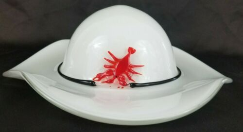Vintage Beautiful White Art Glass Hat Table Décor With Red Crawfish