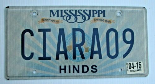 "MISSISSIPPI VANITY LICENSE PLATE "" CIARA 09 "" 2009 MS"