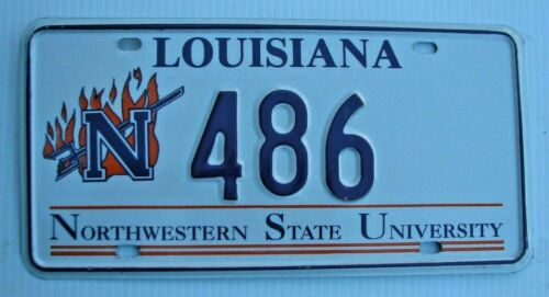 "LOUISIANA NORTHWESTERN STATE UNIVERSITY COLLEGE LICENSE PLATE "" N  486 "" LA"