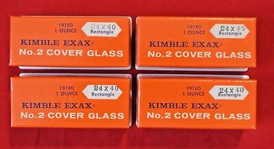 Lot 4 New 1 Oz Kimble Exax No. 2 Cover Glass Microscope Slides 24x40mm Rectangle