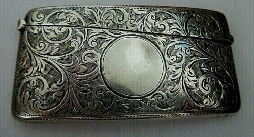 ANTIQUE ENGLISH STERLING SILVER CHASED CARD HOLDER HALLMARK WILLIAM NEEDHAM 1906