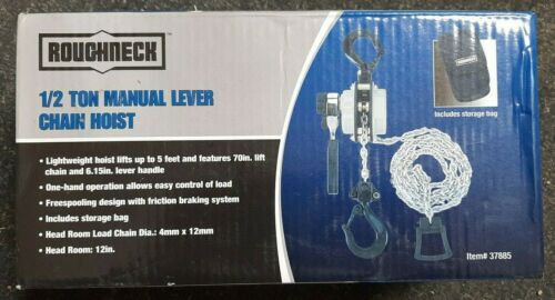 Manual Lever Chain Hoist 1/2 Ton Capacity- 5ft Lift