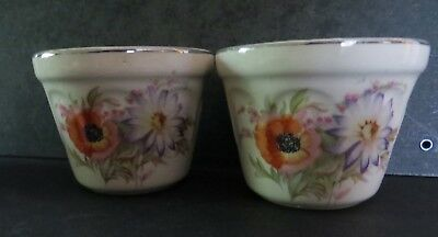 2+Bonus Universal Potteries 162 custard cups orange poppy pastel foliage vintage