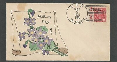 USS Wyoming BB-32 1937 hand drawn cachet Mothers Day watercolor