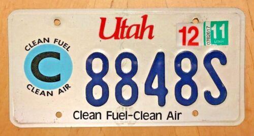 "UTAH CLEAN FUEL AIR GREEN  LICENSE PLATE "" 8848 S "" UT NATURAL GAS BATTERY CNG"