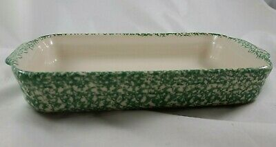 Workshops of Gerald E. Henn Pottery (Roseville) Green Spongeware Casserole Dish
