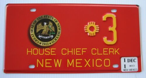 """RARE NEW MEXICO STATE  HOUSE CHIEF CLERK  LICENSE PLATE """"  *  3 """" NM"""