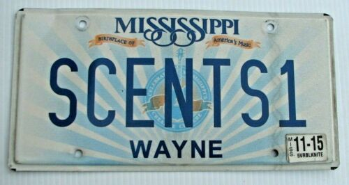 "MISSISSIPPI VANITY LICENSE PLATE "" SCENTS 1 "" SCENT OF A WOMAN PERFUME COLOGNE"