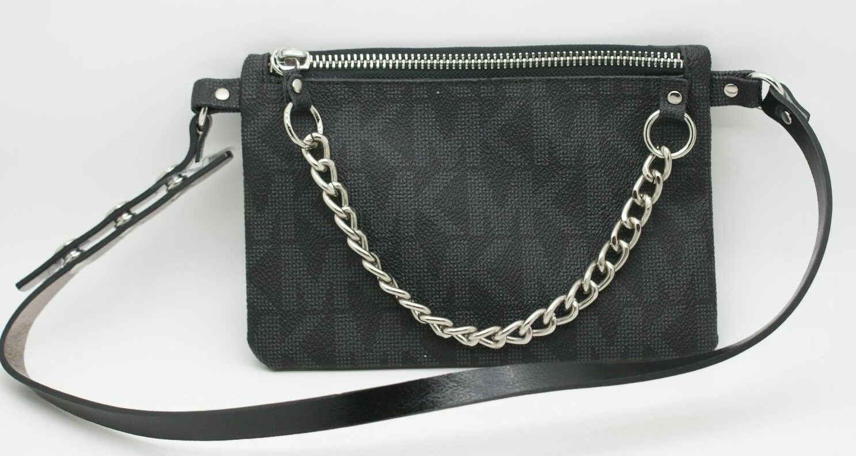 32ddf7643646 Michael Kors MICHAEL Michael Kors Signature MK Logo Leather Belt Bag Fanny  Pack Black S NWT