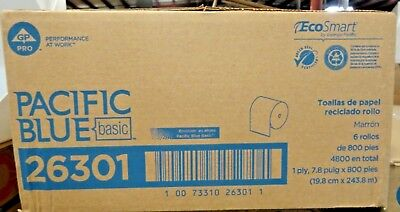 Georgia-pacific 26301 Recycled Paper Towel Roll Brown Box Of 6 Rolls 800 New