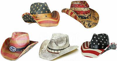 Distressed Vintage Classic USA American Flag Cowboy Hat w/ Shape-able Brim Brim Straw Cowboy Hat