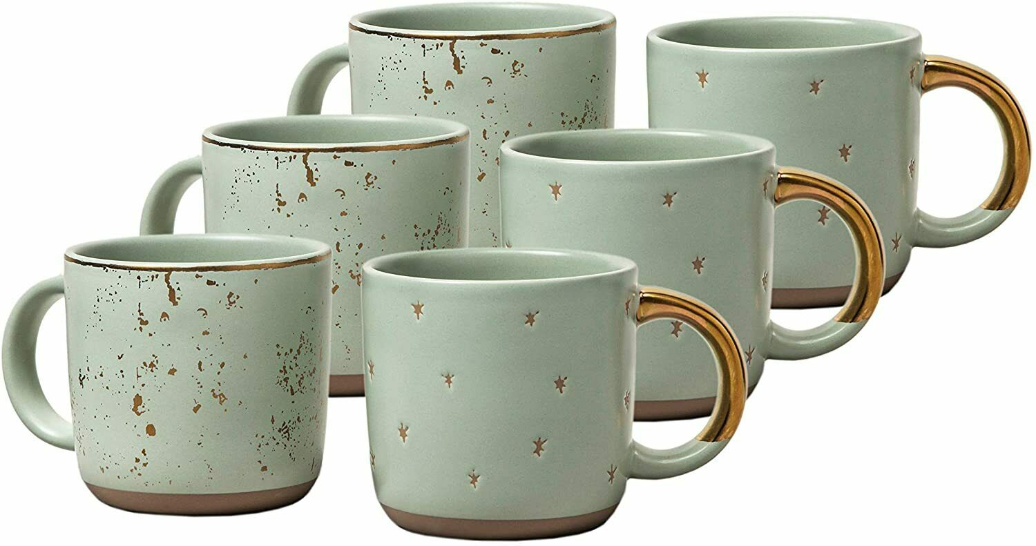 Hearth and Hand Magnolia Mini Coffee Mug, Green Sage /Gold- Set Of 6 Dinnerware & Serveware