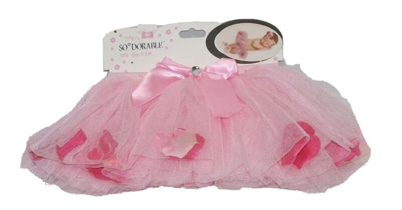 TUTU Pink 0-3 mnths Ribbon Rhinestone Tulle Flower Petals Photo Prop NWT Costume