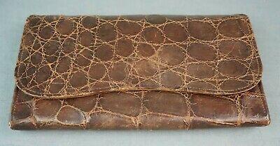 1930s Handbags and Purses Fashion Vintage 1930'S Brown Genuine Crocodile / Alligator Large Clutch Handbag 10 inch $99.00 AT vintagedancer.com