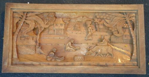 Hand Carved Wood 3D Picture, Trees, Huts, Baskets, Island People