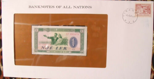 Banknotes of all Nations Albania 1976 P-40a One Lek UNC Prefix RT