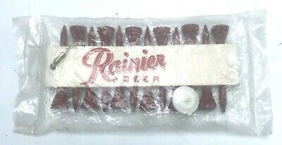 Rainier Beer Golf Tees (12) w Marker With Foam Logo Display Vintage Made USA NOS