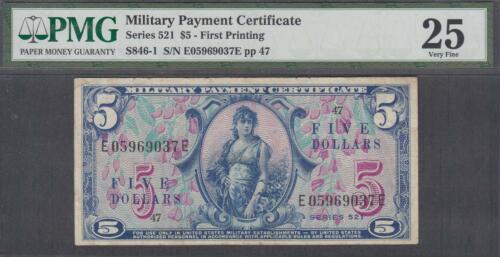 US MPC 5 Dollars Note Series 521  PMG 25