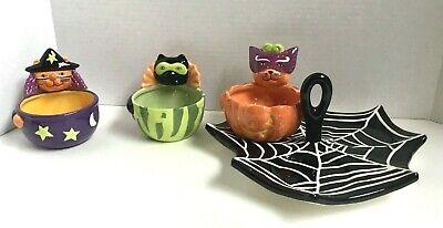 Halloween Condiment Serving Set Scaredy Cats Spider Web - Candy Schüssel Halloween