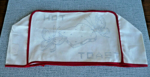 """Vintage Toaster Cover Stamped for Embroidery  """"HOT TOAST""""  Butterfly Theme"""