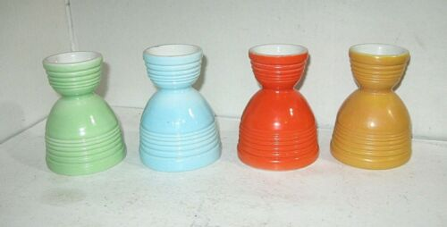 4 PAINTED FIESTA IRONSTONE CERAMIC EGG CUPS, FREE SHIPPING