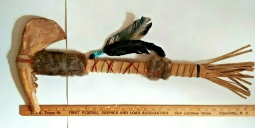 Authentic Replica Native American Jawbone Tomahawk Handmade Leather Fur Feather