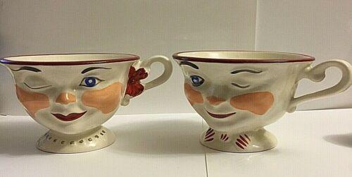 VINTAGE LIPTON * MAN & WOMAN WINKING TEA CUPS * MATCHING PAIR * 1950