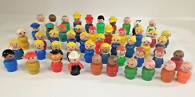 Vintage Lot of 50 Fisher Price Little People Mixed lot police driver dog & more