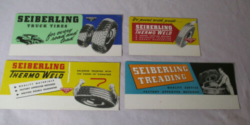 Vintage Lot 4 Unused TIRES Blotters SEIBERLING THERMO WELD, TRUCK TIRES TREADING